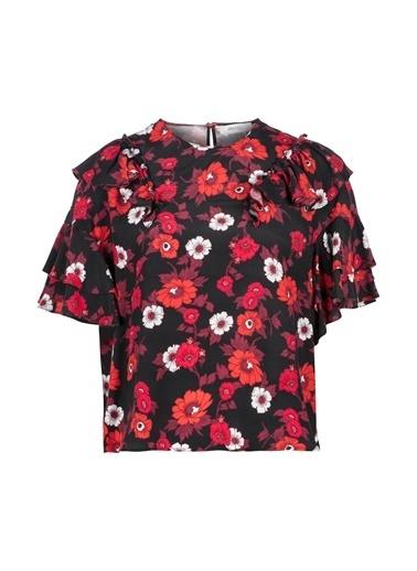 Fırfır Şeritli Çiçekli Bluz-Ipekyol